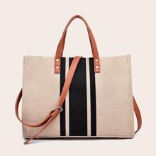 Striped Satchel Bag