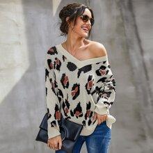 Allover Print V Neck Sweater