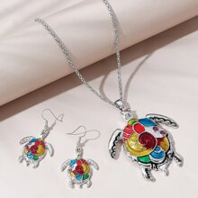 Turtle Pendant Necklace & Earrings