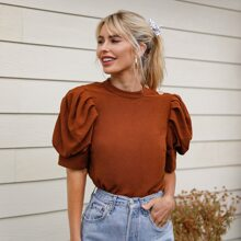 Keyhole Back Puff Sleeve Solid Top