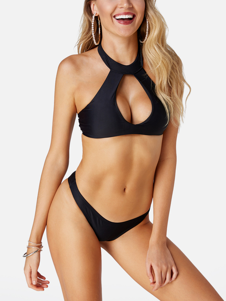 Yoins Black Sexy Cut Out Halter Backless Low-waisted Swimwear