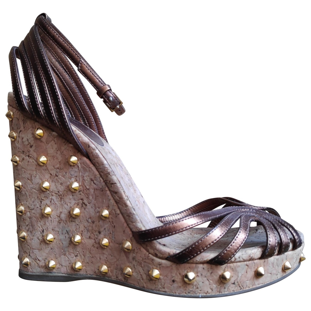 Gucci - Sandales   pour femme en cuir - metallise