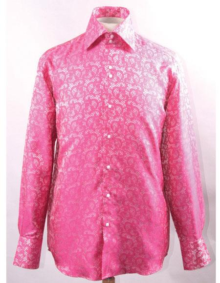 Men's High Collar Silky Fabric Fuchsia Unique Shiny Pattern Shirt
