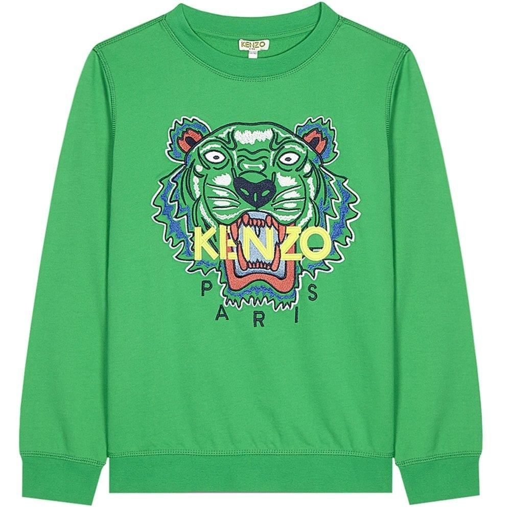 Kenzo Tiger Sweatshirt Green  Colour: GREEN, Size: 8 YEARS