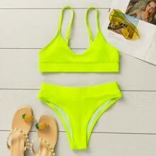 Neon Lime Adjustable Strap Bikini Swimsuit