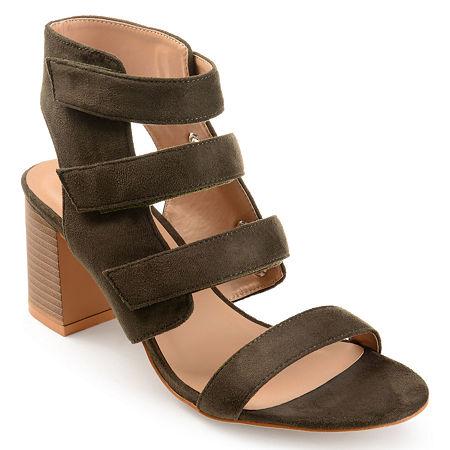 Journee Collection Womens Perkin Open Toe Stacked Heel Pumps, 7 Medium, Green