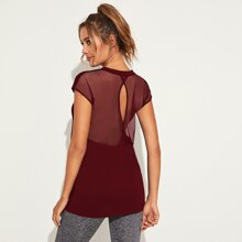 Contrast Mesh Solid Sports Tee