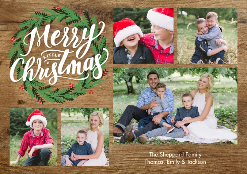 Christmas Photo Cards Flat Matte Photo Paper Cards with Envelopes, 5x7, Card & Stationery -Christmas Green Wreath