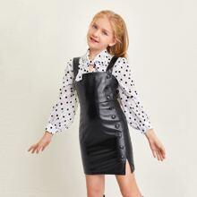 Girls Button Detail Split Hem PU Dress