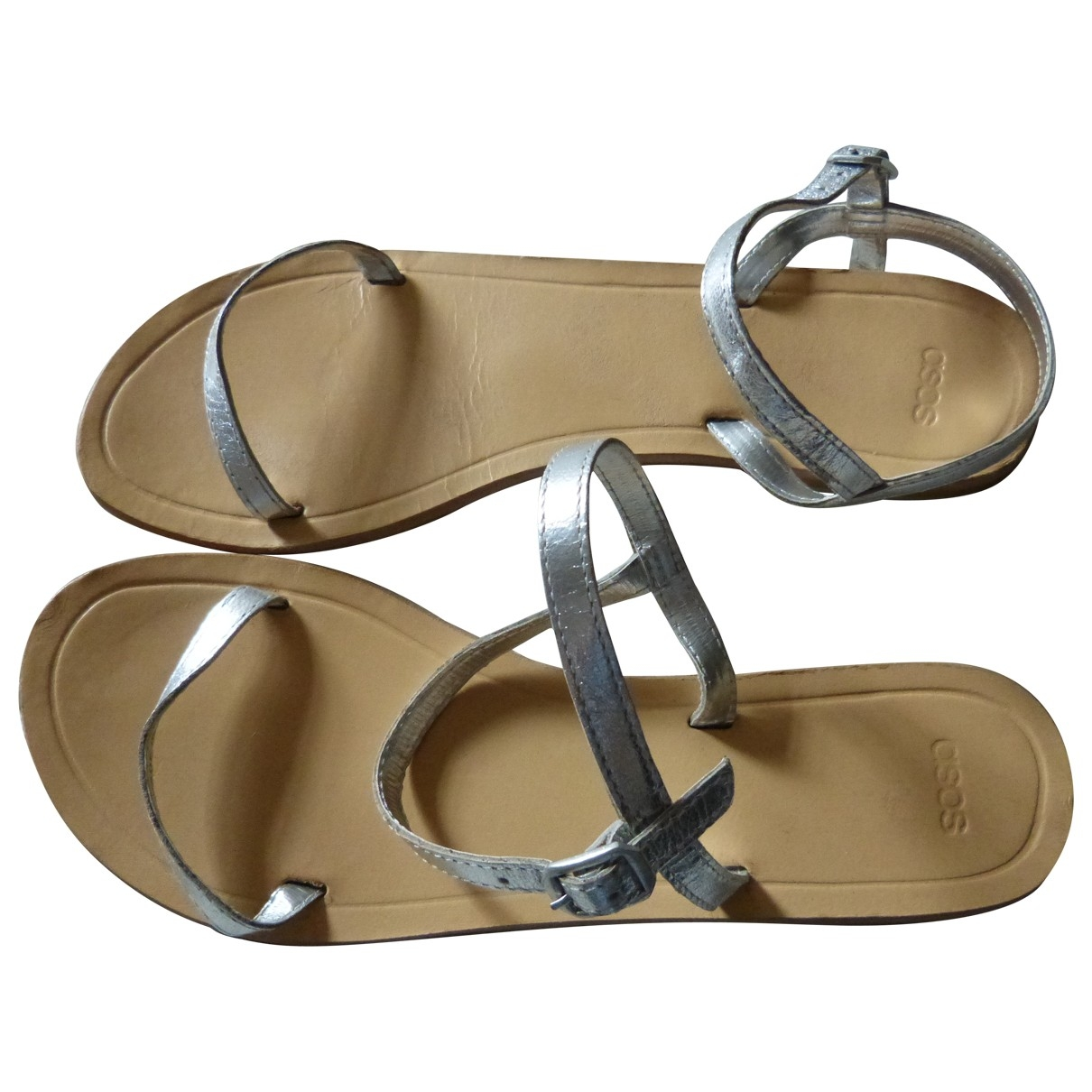 Asos \N Silver Leather Sandals for Women 5 UK