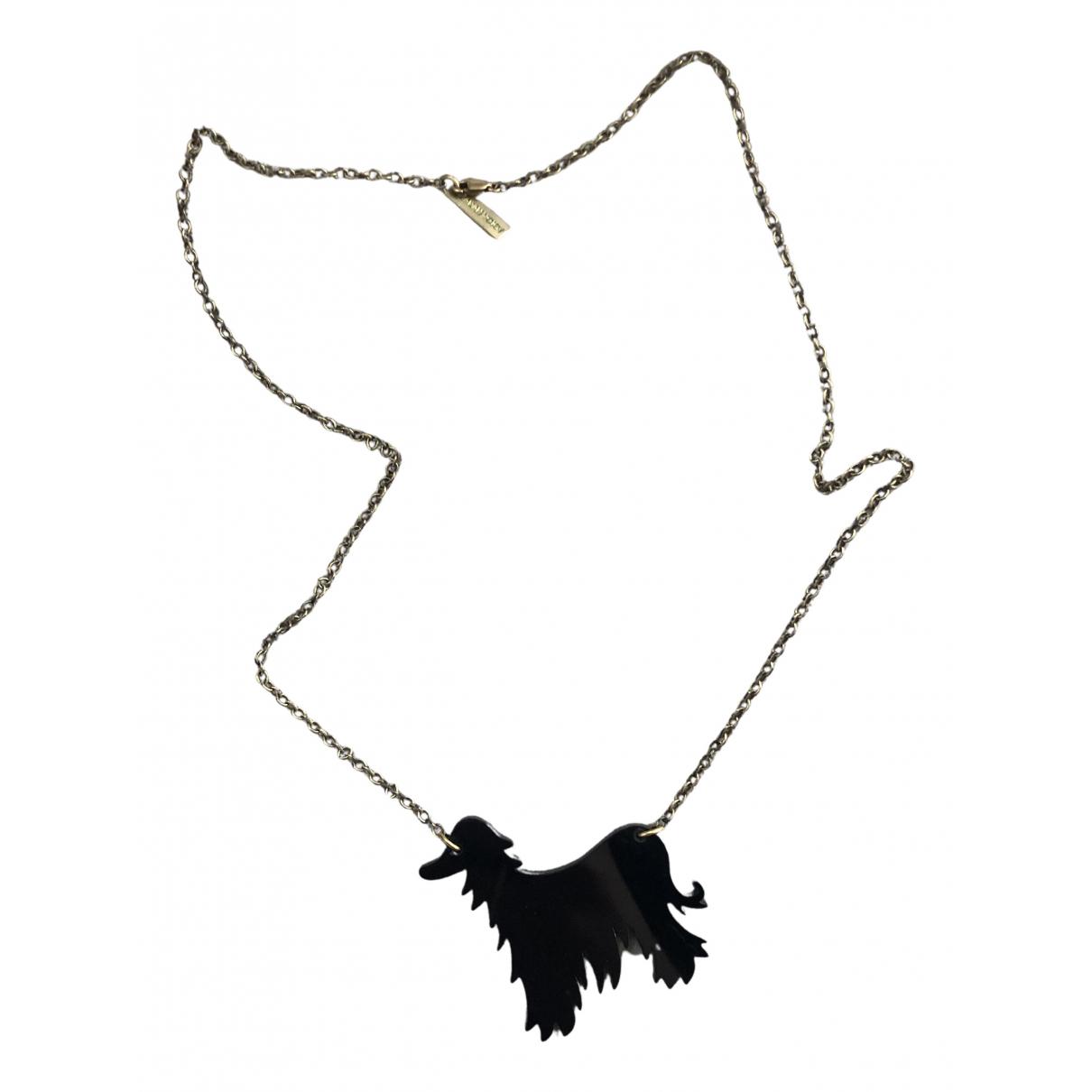 - Collier Motifs Animaliers pour femme en plaque or - noir