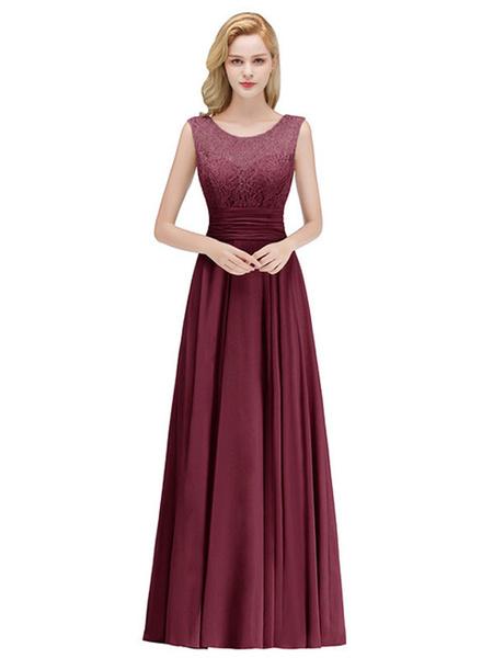 Milanoo Bridesmaid Dress A Line Jewel Neck Floor Length Zipper Lace Wedding Party Dress