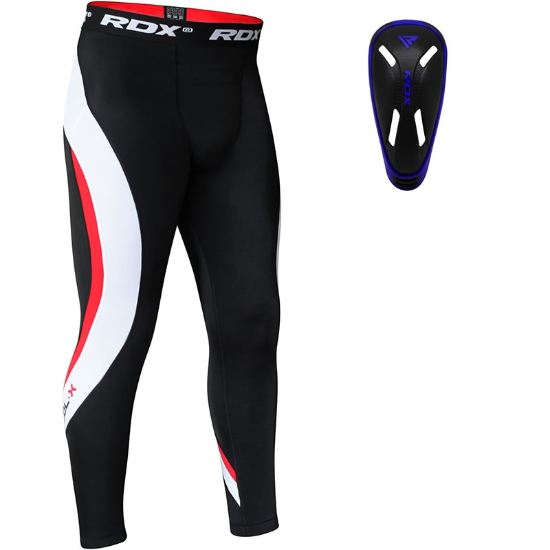 RDX Compression Pantalons de Compression and Coquille Protege Moyenne  Bleu Neoprene