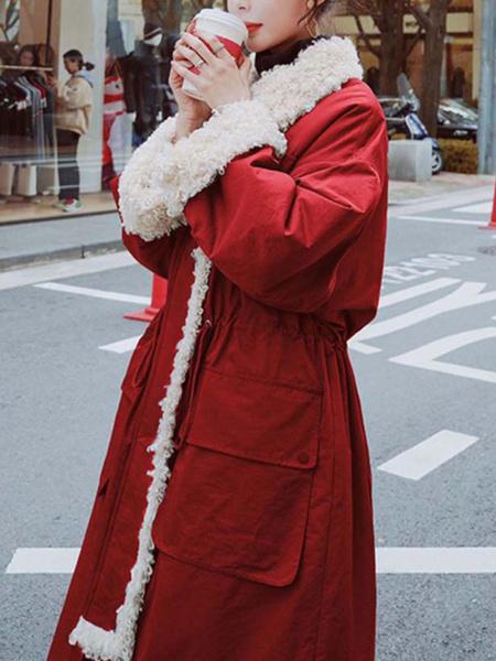 Milanoo Abrigos de mujer Rojo Bolsillos con cuello de cobertura Abrigo informal Abrigo Abrigo