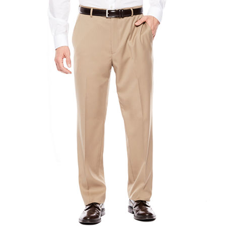 Stafford Travel Super Flat-Front Dress Pants - Classic Fit, 44 30, Brown