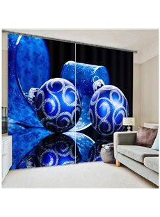Dark Blue Color Christmas Gifts Printing Living Room Custom 3D Polyester Curtain