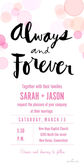 Wedding Invitations Flat Glossy Photo Paper Cards with Envelopes, 4x8, Card & Stationery -Bokeh Bubbles Invitation