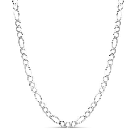 Made in Italy Sterling Silver 18 Inch Solid Figaro Chain Necklace, One Size , No Color Family