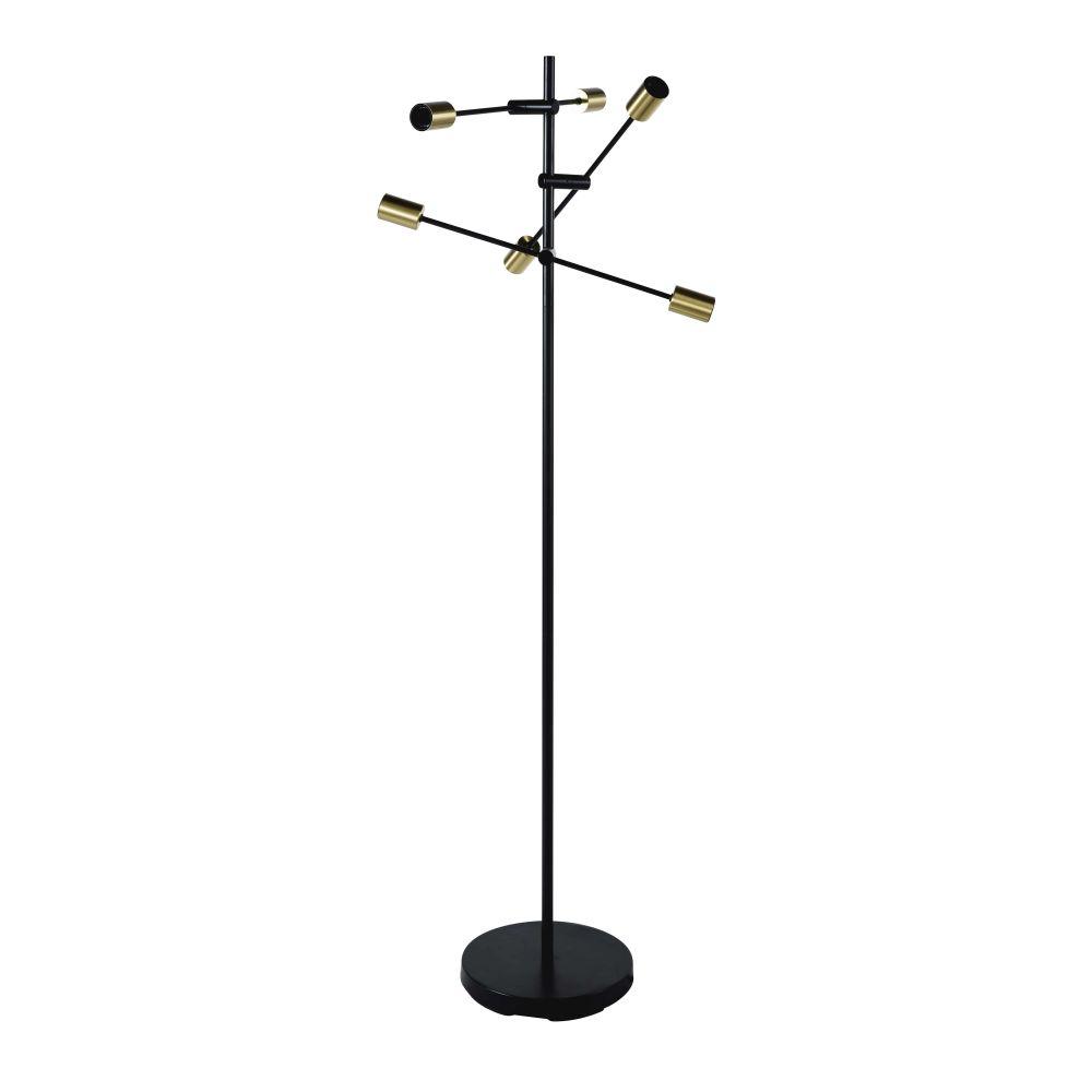 3-armige Stehlampe aus Metall, schwarz und goldfarben H150
