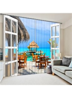 3D Chairs and Tables with Wooden Bridge in Seaside Beach Custom Living Room Curtain