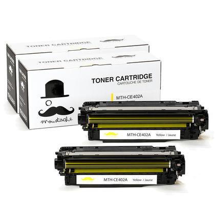 Compatible HP 507A CE402A Yellow Toner Cartridge- Moustache@ - 2/Pack