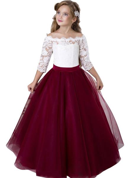 Milanoo Vestidos de niña de flores Bateau Neck Tulle 3/4 Longitud Mangas Hasta el suelo Princesa Silhouette Sash Vestidos de fiesta para niños