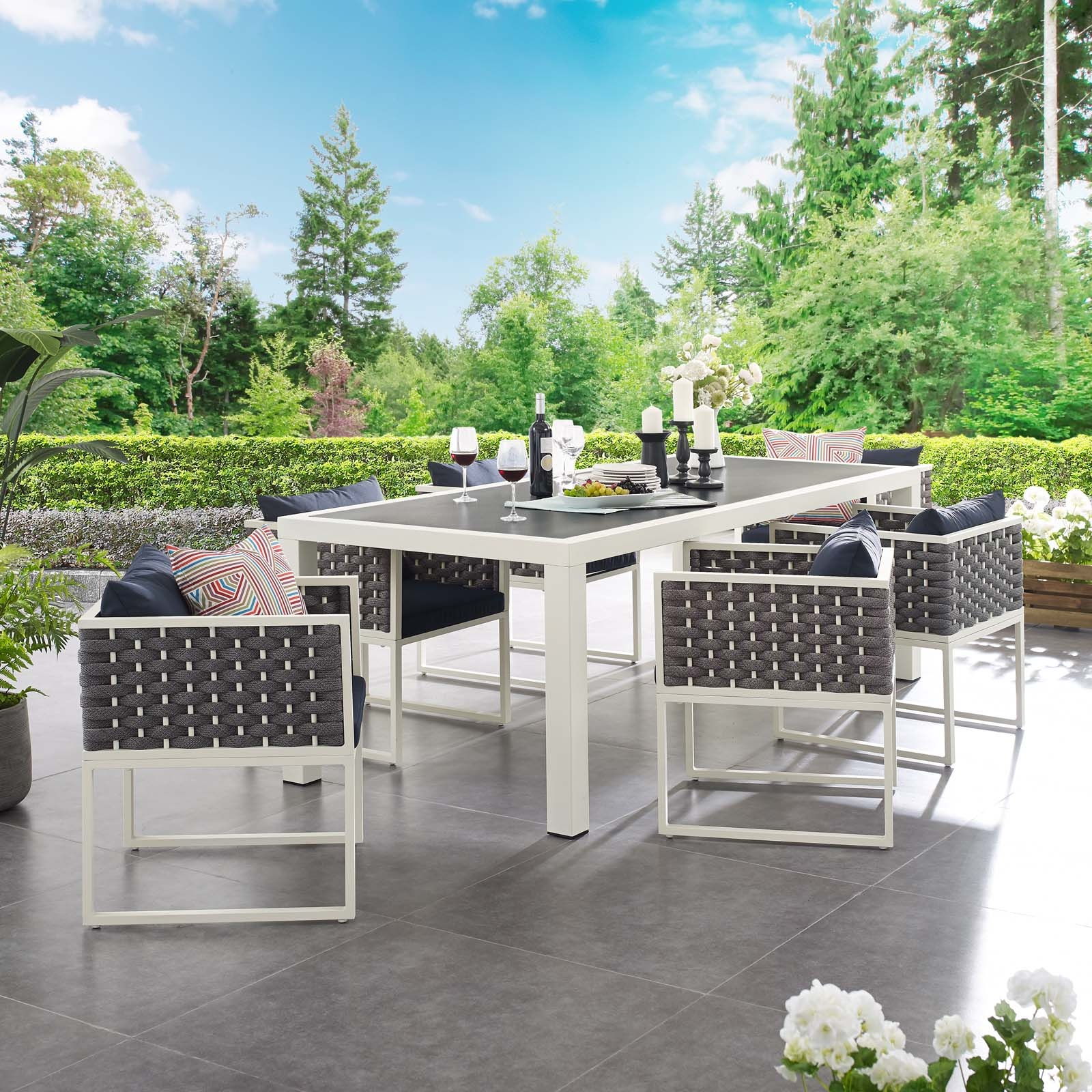 Stance 7 Piece Outdoor Patio Aluminum Dining Set in White Navy