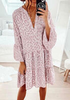 Leopard Ruffled Mini Dress without Necklace - Pink