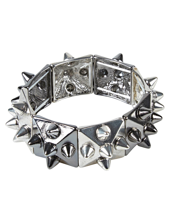 Kostuemzubehor Armband mit Nieten silber/schwarz