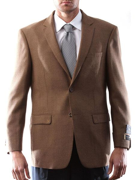 Italia Style Light Brown Men's 2 Button Wool Cashmere Sport Coat