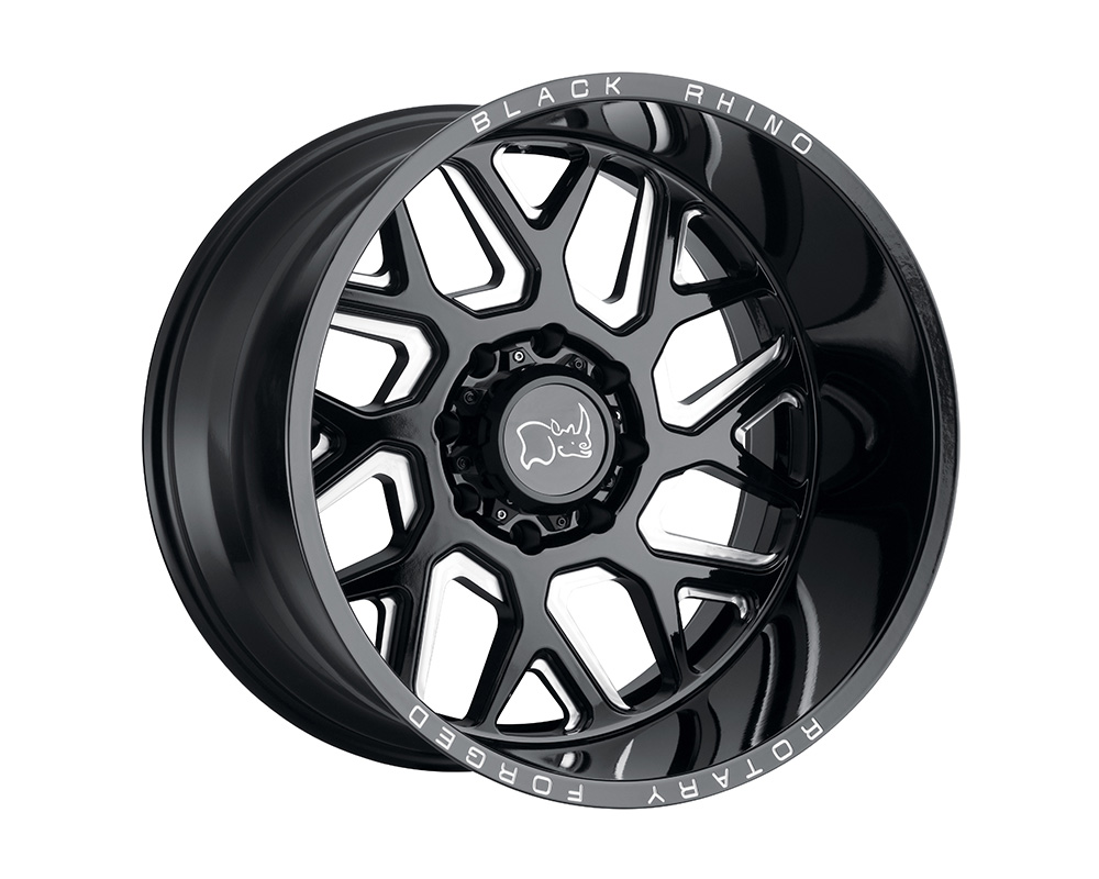 Black Rhino Reaper Wheel 22x14 8x180 -76mm Gloss Black w/Milled Spokes