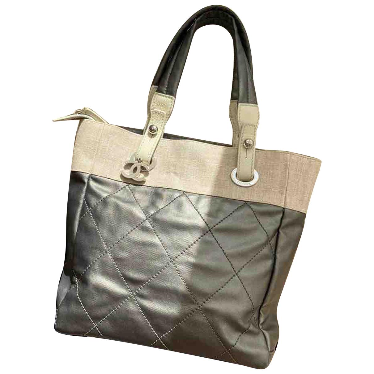 Chanel Petite Shopping Tote Handtasche in  Grau Leinen