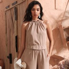 Tied Backless Frill Trim Halter Top