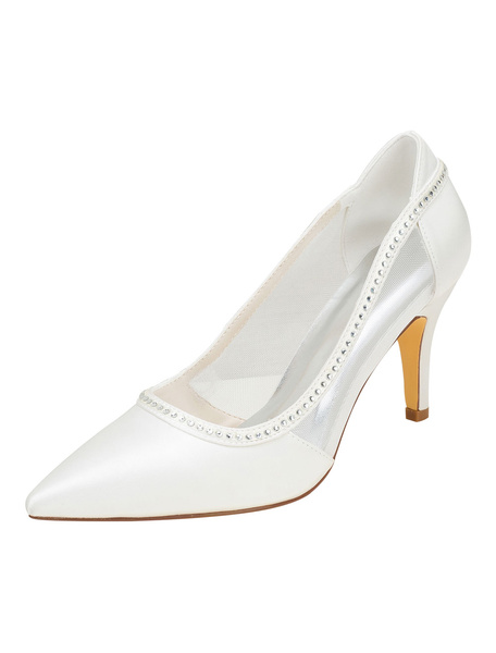 Milanoo Ivory Wedding Shoes Silk High Heel Pointed Toe Rhinestones Slip On Pumps