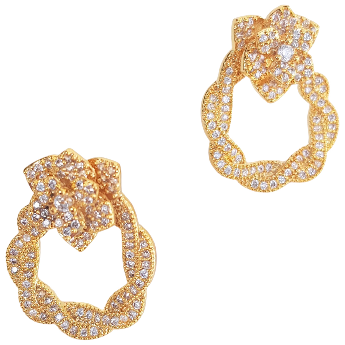 Non Signe / Unsigned Motifs Floraux OhrRing in  Gold Kristall