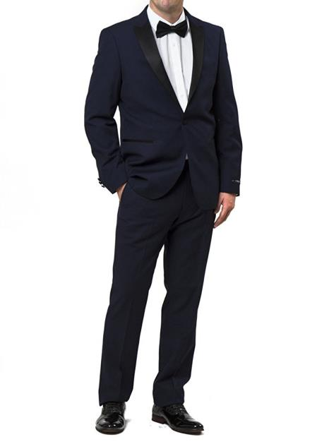 Men's 2 Peak Lapel Regular Fit 2 Piece Navy Midnight Blue Tuxedo Suit