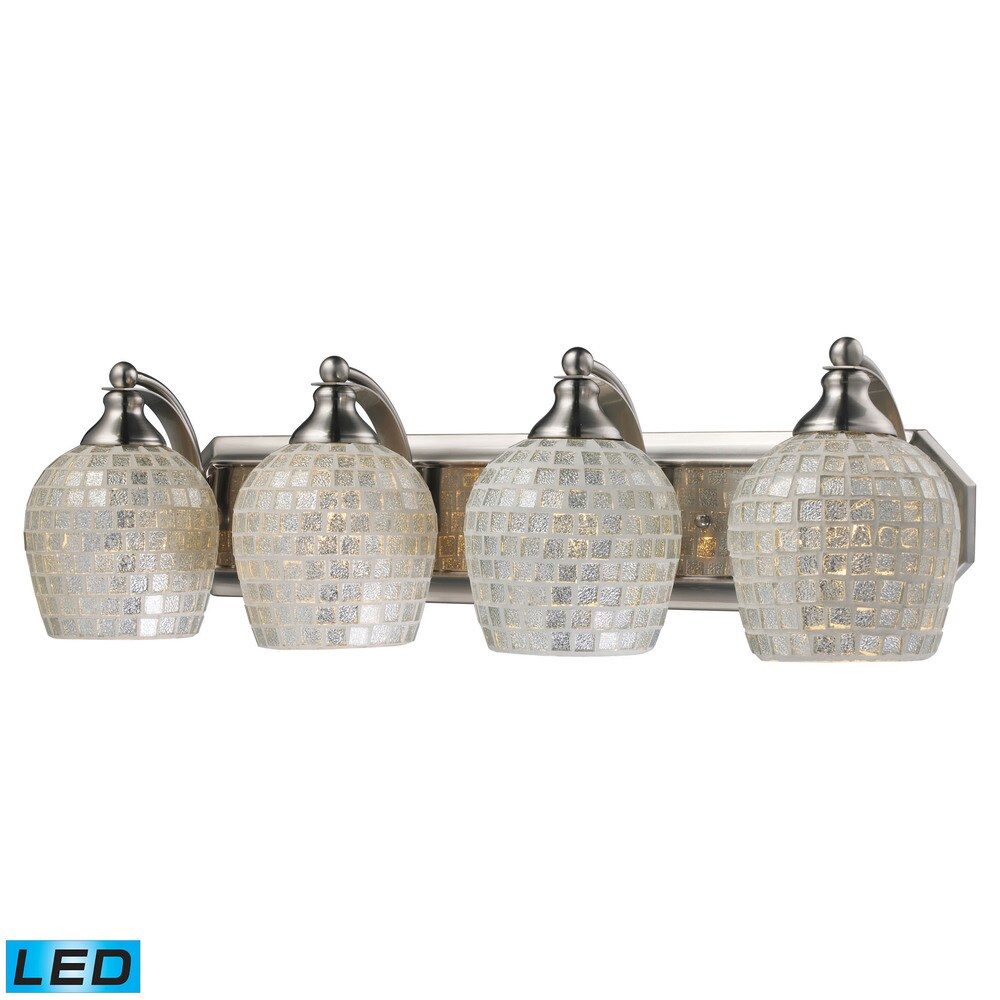 Elk Bath and Spa 4-light LED Vanity in Satin Nickel and Silver Glass (Satin Nickel)