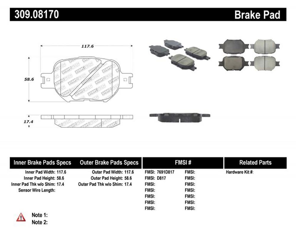 StopTech 309.0817 Sport Brake Pads with Shims/Hardware Front
