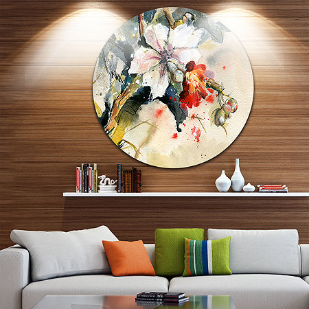 Design Art Orchid in Bloom Floral Metal Circle Wall Art, One Size , Blue