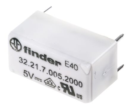 Finder , 5V dc Coil Non-Latching Relay SPDT, 6A Switching Current PCB Mount Single Pole