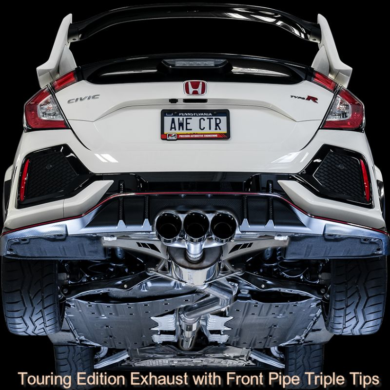 AWE Track Edition Exhaust with Front Pipe Triple Chrome Silver Tips Honda Civic Type R FK8 17-19