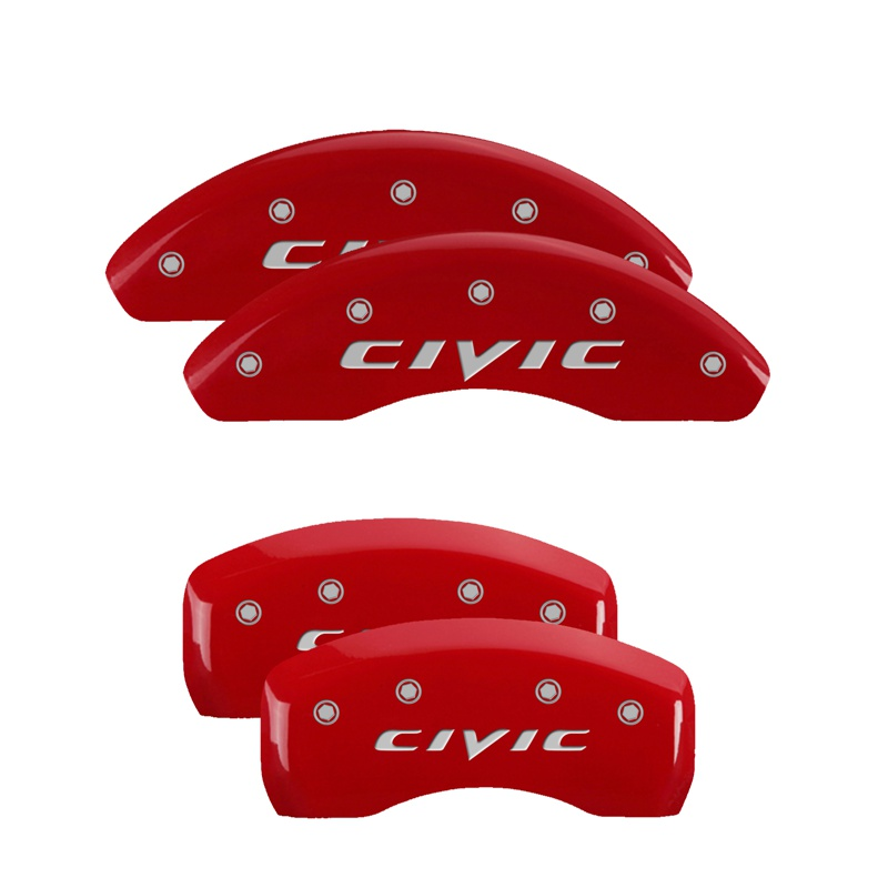 MGP Caliper Covers 20220SCIVRD Set of 4: Red finish, Silver Honda Civic (2015) Honda Civic 2002-2003