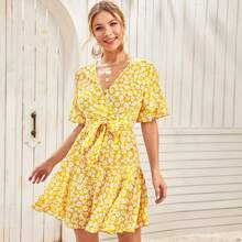 Ruffle Trim Belted Floral Dress