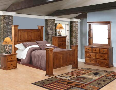 Hide-Away Collection 85QNG-5PCSET-GO 5 Piece Bedroom Set with Queen Size Gun Storage Bed  Dresser  Nightstand  Drawers Chest  Hutched Mirror in