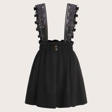 Plus Lace Panel Button Suspender Skirt