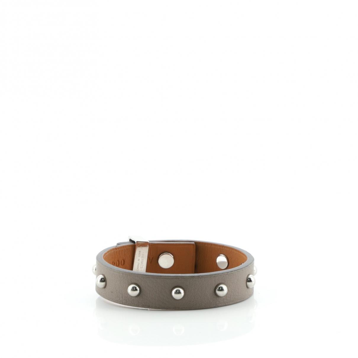 Hermes - Bracelet   pour femme en cuir - gris