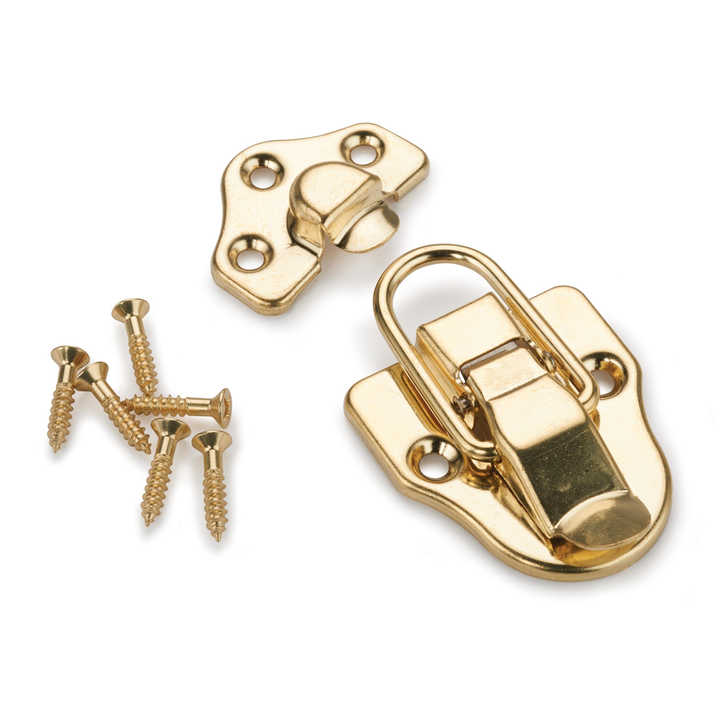 Trunk Draw Catch Polished Brass Plated 1-piece with Screws