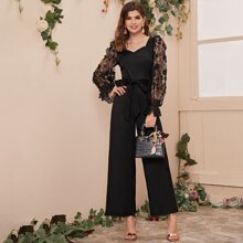 Embroidered Mesh Sleeve Belted Wide Leg Jumpsuit