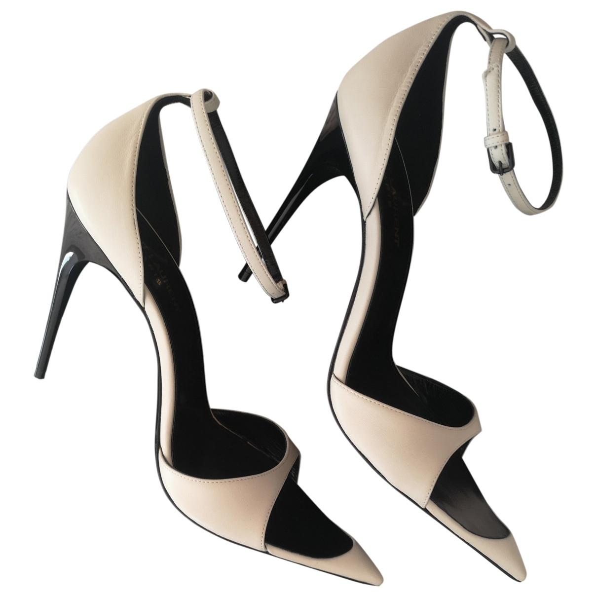 Saint Laurent \N White Leather Sandals for Women 39 EU