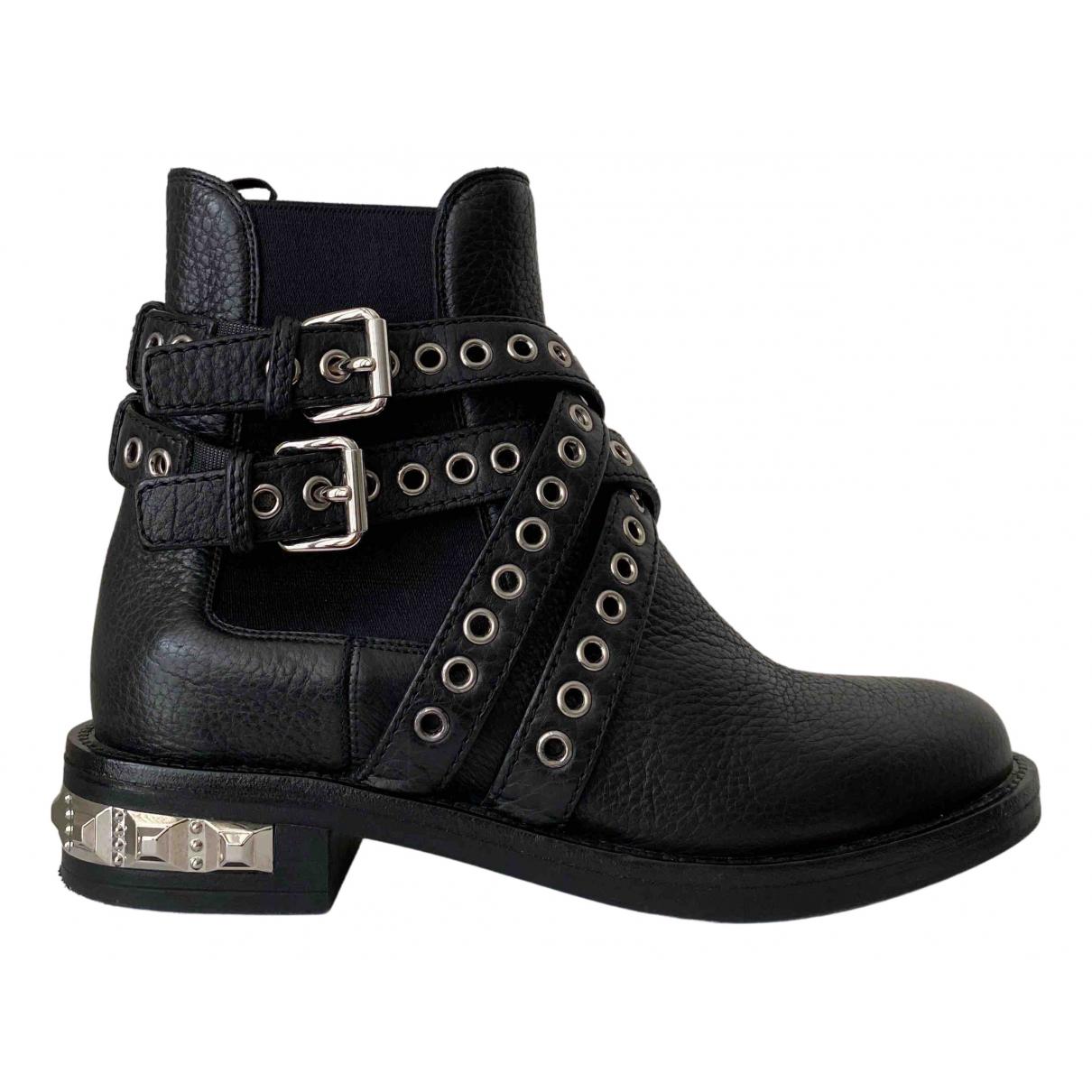 Miu Miu \N Black Leather Ankle boots for Women 37 EU